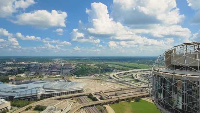 Aerial view from around top of Reunion Tower of Dallas, Texas video