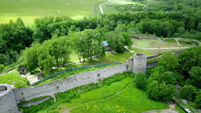 Aerial view from drone ancient destroyed fortress. Koporye. St. Petersburg. Russia video