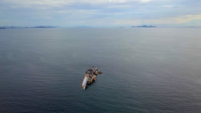 Aerial view from drone Ship wrecked at the sea in Chon Buri thailand video