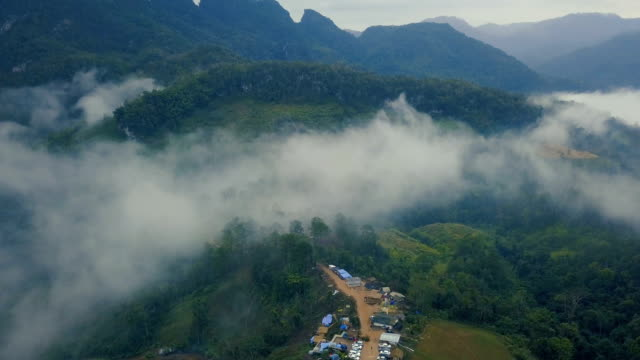 aerial view from drone village houses and mountain view with mist or sea of fog name Doi luang, Chiang dao, Chiang mai, Thailand