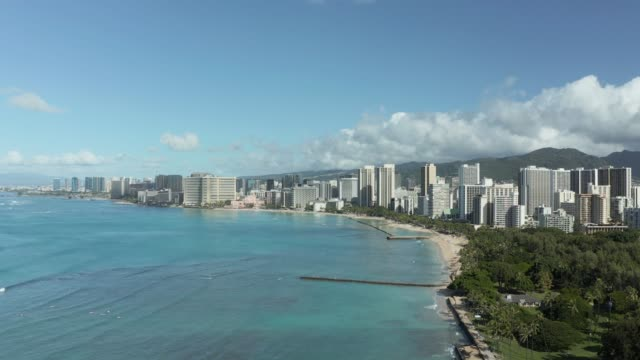 Aerial view from drone with slow pan from coast of Waikiki looking towards Honolulu on Oahu