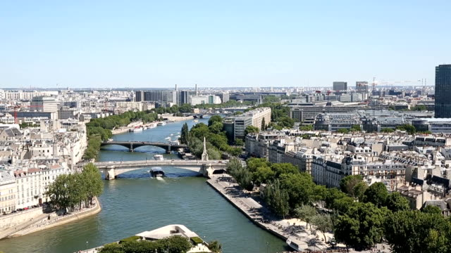 Aerial view from the top of Notre Dame Cathedral video