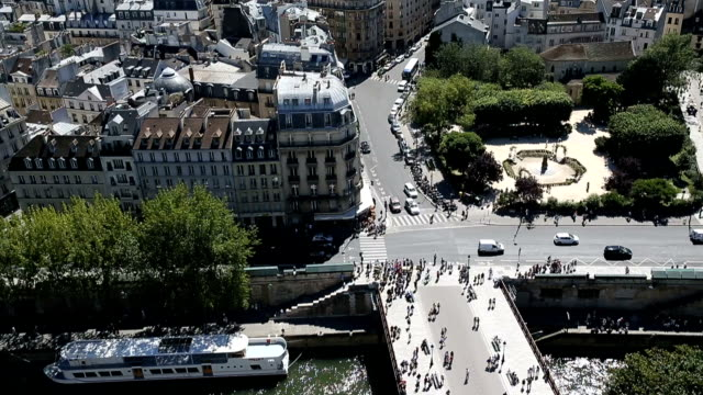 aerial view from the top of notre dame cathedral - paris fashion stock videos and b-roll footage