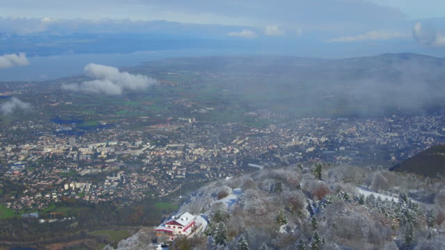 Aerial view from top of Saleve to see Geneva city video