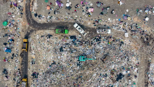 Aerial view  garbage mountain