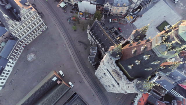 aerial view ghent - belgio video stock e b–roll