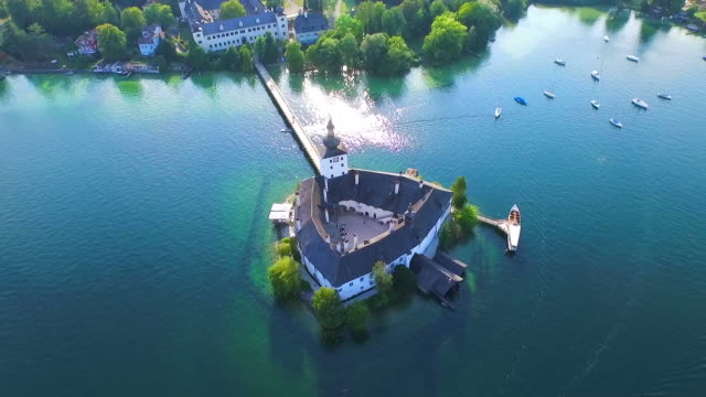aerial view, Gmunden In Austria, Schloss Orth am Traunsee video