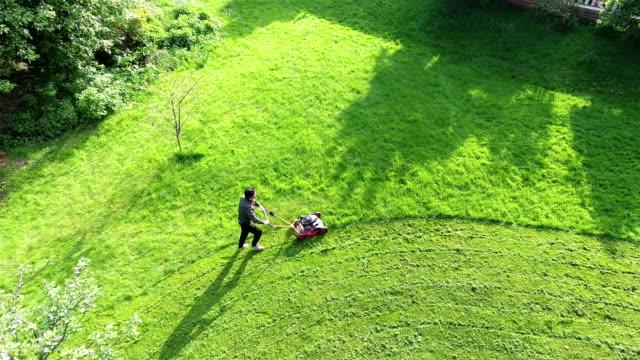 Vue aérienne de l'herbe bordure Tondeuse à gazon - Vidéo