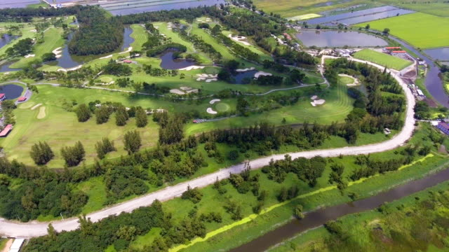 Aerial view Green Golf Club with Sunny Day video