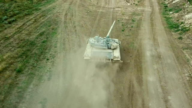 Bидео aerial view - heavy tank attack