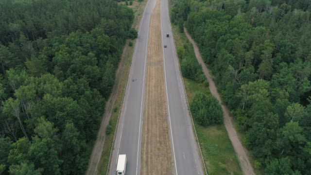 aerial view highway car driving commute country