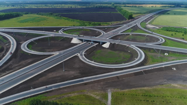 aerial view highway junction. - autobahn video stock e b–roll