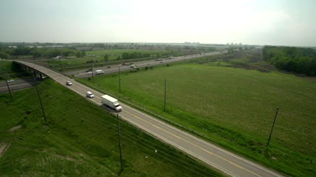Aerial View Highway Traffic video