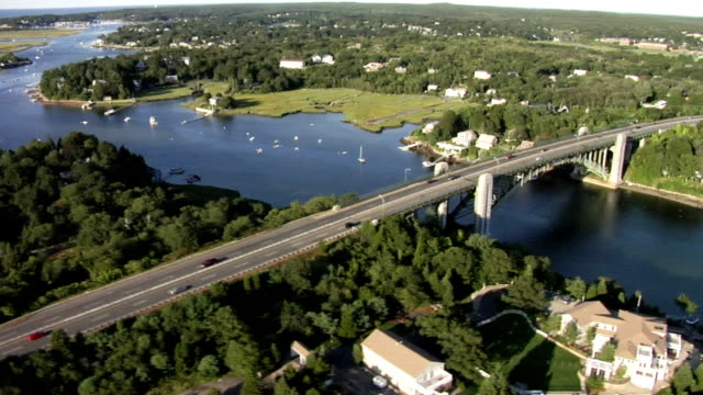 Aerial view huge bridge in New England video