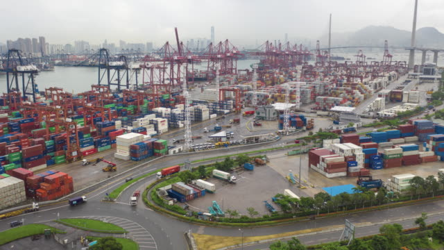 aerial view hyperlapse 4k video of container cargo ship in export and import business and logistics international goods.