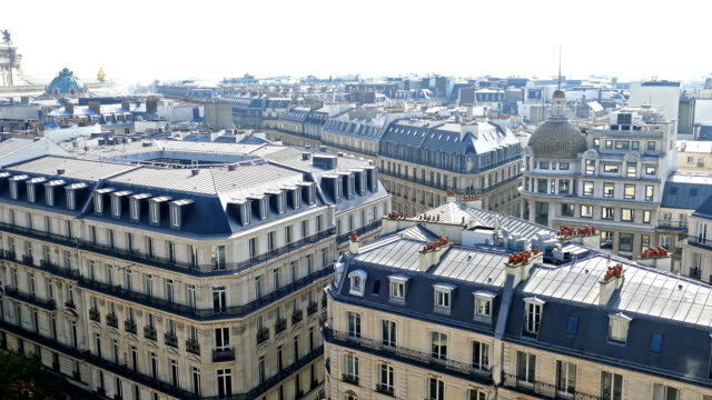 luftbild in 4k von der terrasse des printemps speichern - paris stock-videos und b-roll-filmmaterial