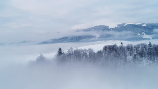 Aerial view in foggy sunset winter mountain Fly over winter Carpatian mountains, beautiful landscape with a bird's eye view, UHD 4K mountains in mist stock videos & royalty-free footage