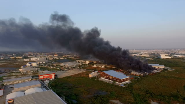 aerial view industrial fire video