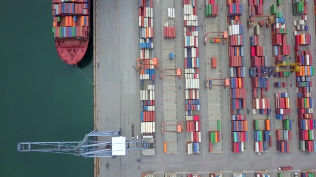 Aerial view, Industrial port with containers ship Aerial view, Industrial port with containers ship commercial dock stock videos & royalty-free footage