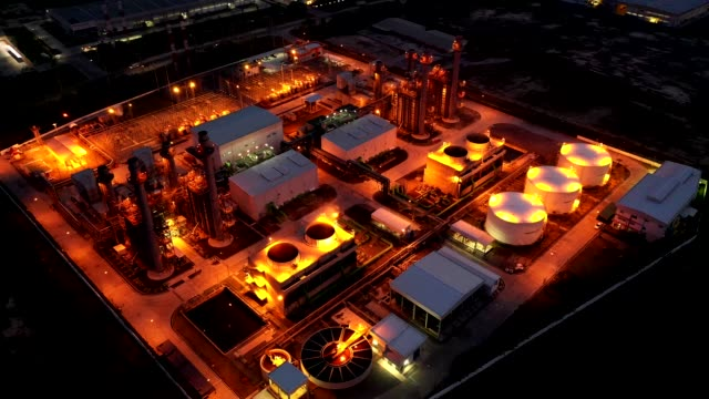 Aerial view. Industrial power plant energy at night. 4k resolution