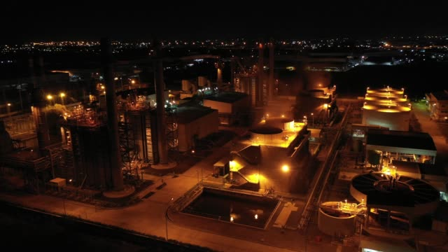 Aerial view. Industrial power plant.  Oil refinery and Oil industry at Twilight video