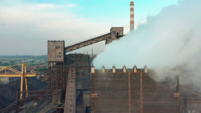 Aerial view. Industry Pipe Pollute the Atmosphere With Smoke, Ecology pollution, Industrial factory pollutes, smoke stacks