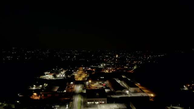 Aerial View Indutrial Area Night - video