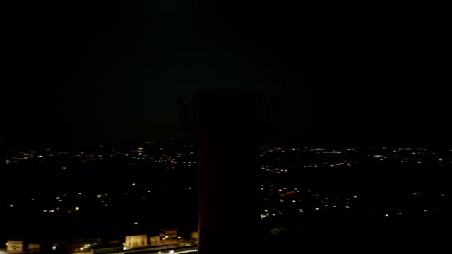 Aerial View Indutrial Plant Chimney Night - video