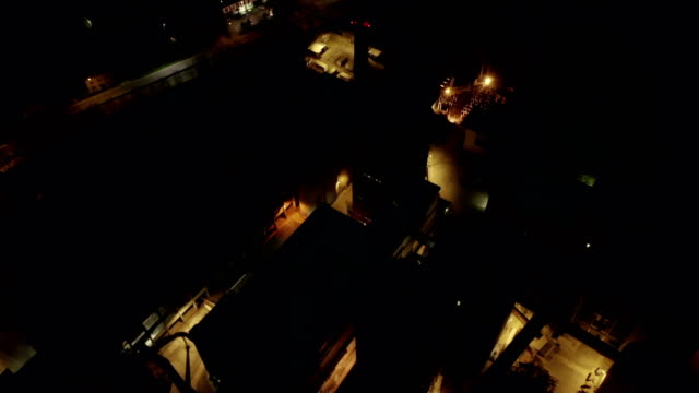 Aerial View Indutrial Plant Night - video