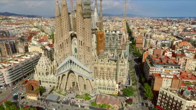 BARCELONA, SPAIN . Aerial view La Sagrada Familia video