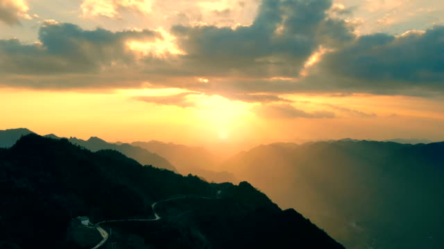 Aerial view landscape of mountains sunset