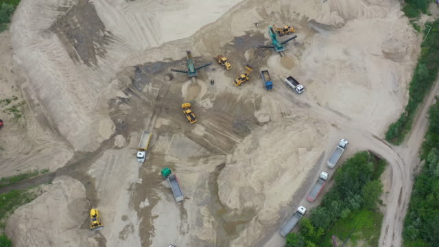 aerial view loading bulldozer in open air quarry. sand mining industry. bulldozer machine. crawler bulldozer moving at sand mine. mining machinery working at sand quarry. drone view of mining equipmen - archeologia video stock e b–roll