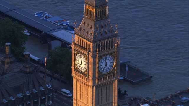 Aerial View London: Big Ben Bell tower and clock face.