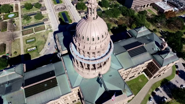 Aerial View Looking Down on Texas State Capitol Building Sunny Day in Austin , Texas video