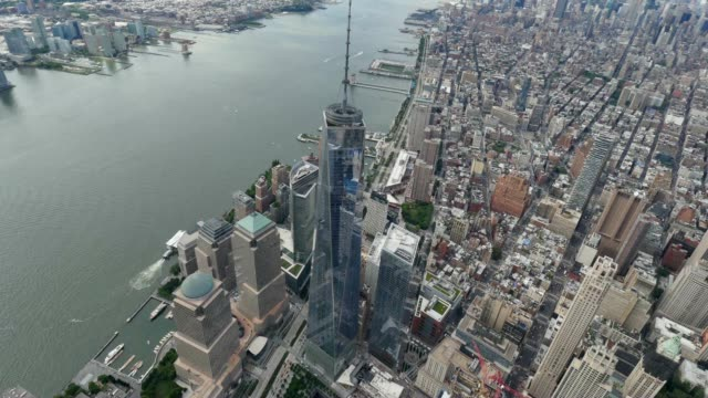 Aerial View Lower Manhattan and Freedom Tower NYC video