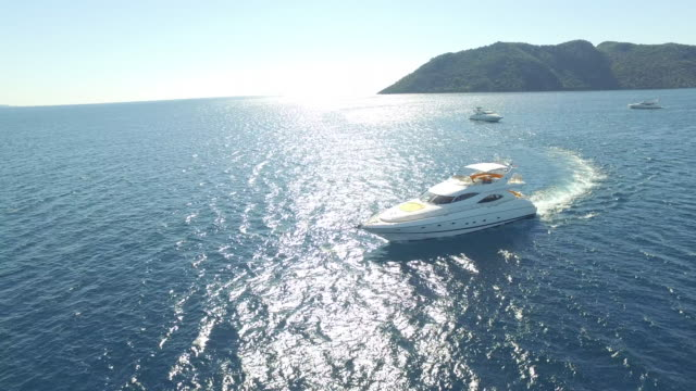 Aerial view luxury yacht on sea video