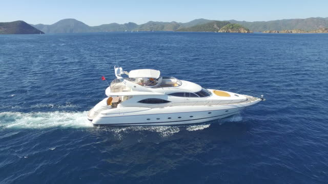 Aerial view luxury yacht on sea