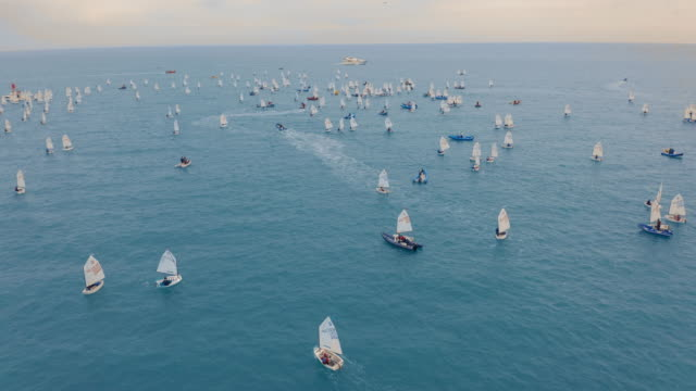 Aerial view. Many small sailboat float in the sea. Regatta Aerial view. Many small sailboat float in the sea. Regatta yachting stock videos & royalty-free footage