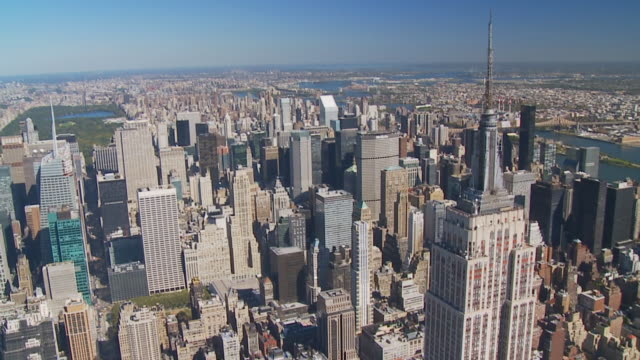 aerial view midtown manhattan central park video