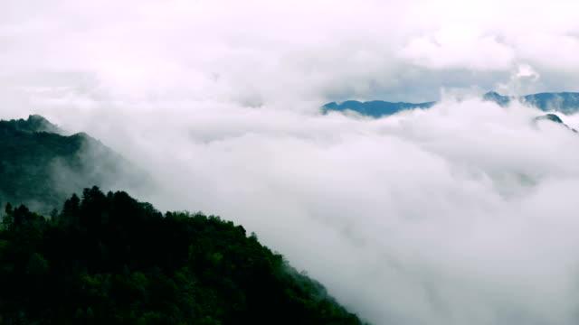 flygfoto-bergen och skogen med moln - utdöd bildbanksvideor och videomaterial från bakom kulisserna