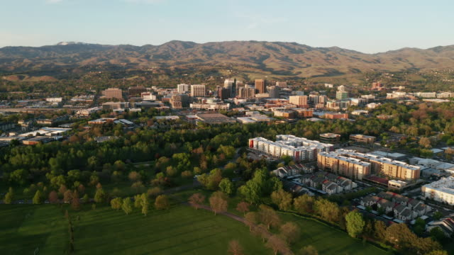 Aerial View Moving Left Downtown Boise Idaho the Capital City