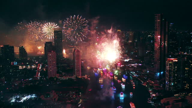 Aerial view New Year Celebrations firework in the City