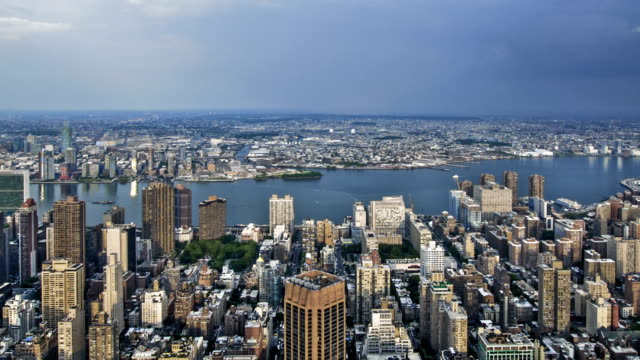 Aerial View New York City Skyline NYC Tourist Attraction video