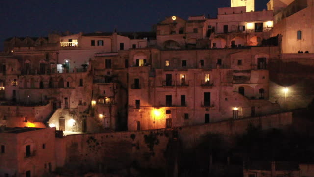 aerial view night of Matera city unesco, Italy video