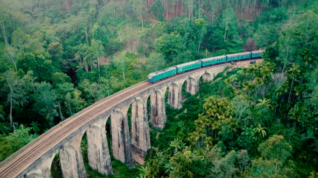 aerial view nine arch bridge in sri lanka - поезд стоковые видео и кадры b-roll