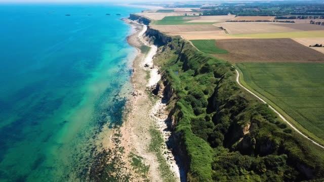 aerial view normandy coastline, france - manica video stock e b–roll