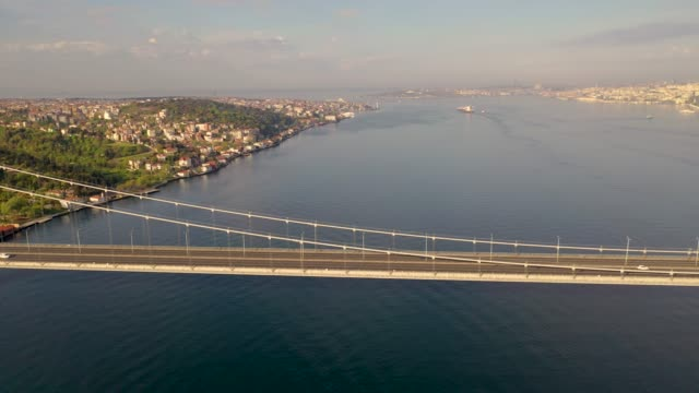 aerial view of 15 july martyrs bridge also known as bogazici bridge from istanbul turkiye with drone. - męczennik filmów i materiałów b-roll