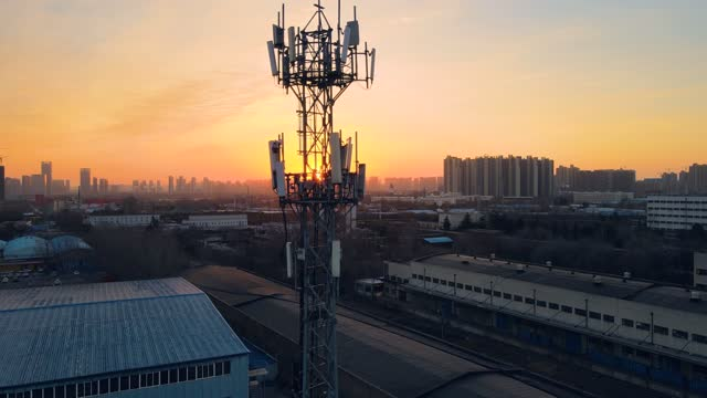 Aerial view of 5G telecommunication tower