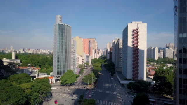 Aerial view of a Avenue in Sao Paulo with drone Aerial view of Brigadeiro Faria Lima during quarantine general view stock videos & royalty-free footage