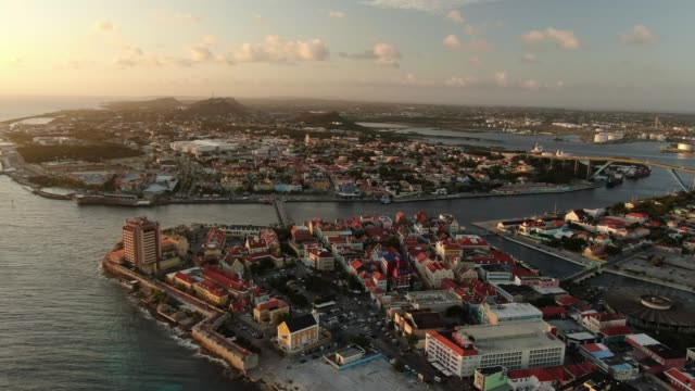 Aerial view of a coastal city area of Curaçao Details of city elements of Curaçao curaçao stock videos & royalty-free footage